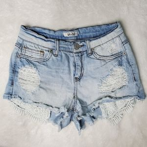 Light Blue Denim Short Shorts w/ Lace short